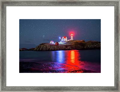 Nubble Lighthouse Reflection Framed Print by Mircea Costina Photography
