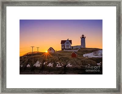 Nubble Lighthouse Sunburst Framed Print