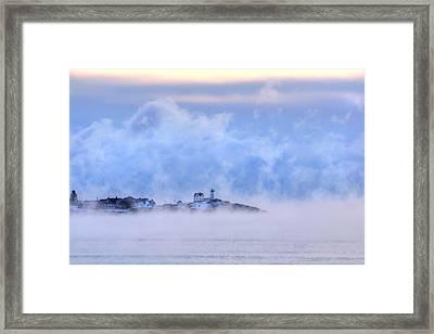 Nubble Lighthouse Sunrise With Sea Smoke - York, Maine Framed Print by Joann Vitali