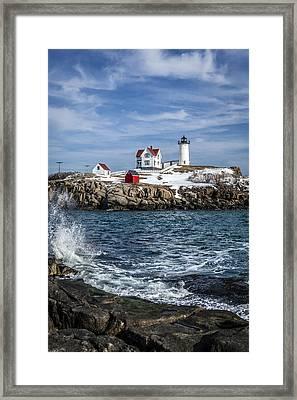 Nubble Lighthouse Winter Framed Print