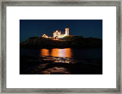 Framed Print featuring the photograph nubble Lighthouse, York Maine by Jeff Folger