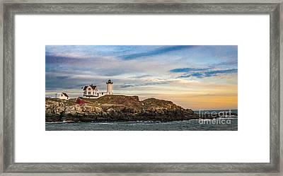 Nubble Lighthouse, York, Maine Framed Print by Ken Marsh