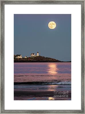 Nubble Moon Reflection Framed Print