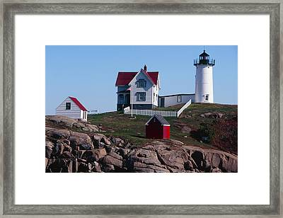 Nubble Point Lighthouse Framed Print by George Oze