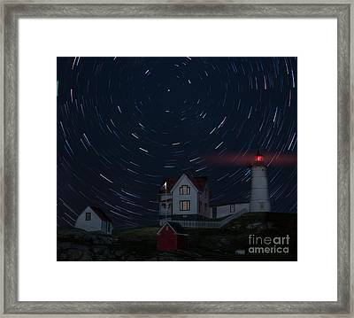 Nubble Startrails Framed Print by Jerry Fornarotto