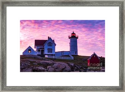 Nubble Sunrise Framed Print by Jerry Fornarotto