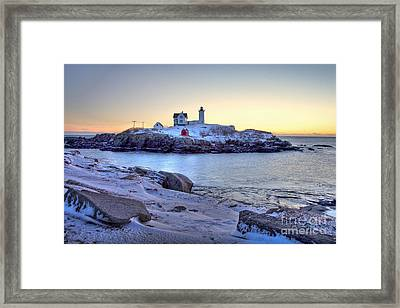 Nubble Sunrise Framed Print by Susan Cole Kelly