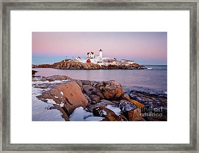 Nubble Winter Dusk Framed Print