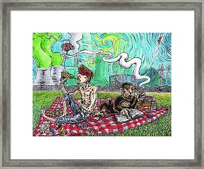Nuclear Picnic Framed Print by Trevor Davy