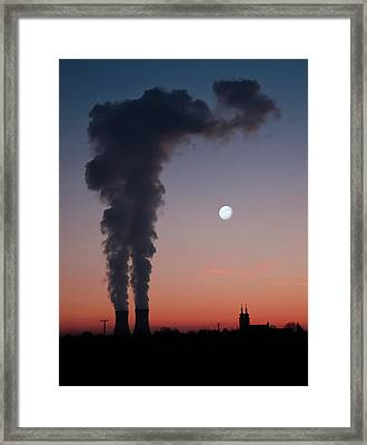 Nuclear Power Station In Bavaria Framed Print by Michael Kohaupt