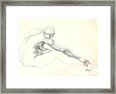 Framed Print featuring the drawing Nude 10 by R  Allen Swezey