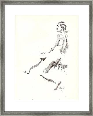 Framed Print featuring the drawing Nude 7 by R  Allen Swezey