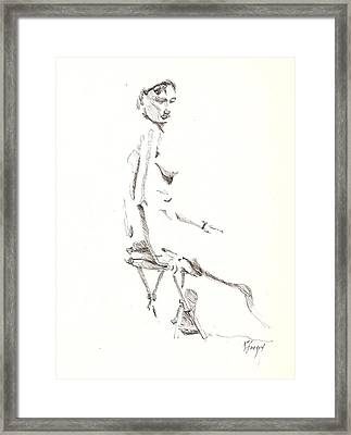 Framed Print featuring the drawing Nude 8 by R  Allen Swezey