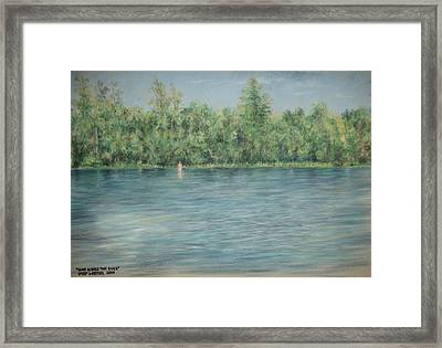 Nude Across The River Framed Print by Larry Whitler