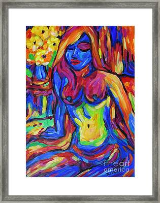 Framed Print featuring the painting Nude And Flowers Waiting In Sun Lit Room by Dianne  Connolly