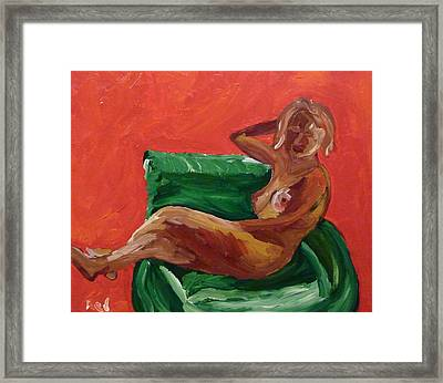 Nude And Green Chair Framed Print by Joshua Redman