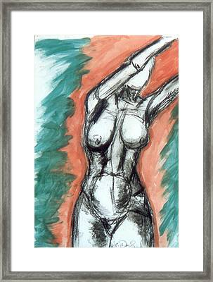 Nude Arms Up Framed Print by B and C Art Shop