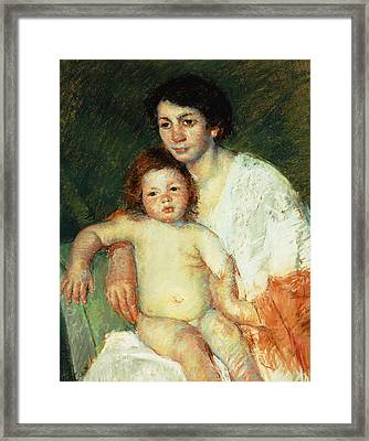 Nude Baby On Mother's Lap Resting Her Right Arm On The Back Of The Chair Framed Print by Mary Stevenson Cassatt
