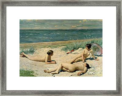 Nude Bathers On The Beach Framed Print by Paul Fischer