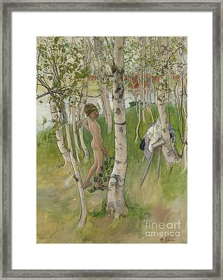 Nude Boy Among Birches Framed Print by Carl Larsson