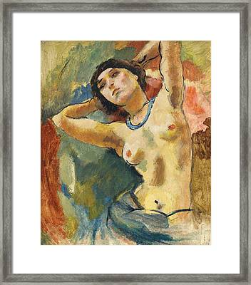 Nude. Brunette With Blue Necklace  Framed Print by Jules Pascin