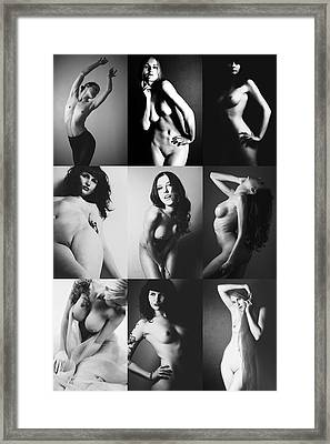 Nude Bw Collage  Framed Print by Falko Follert