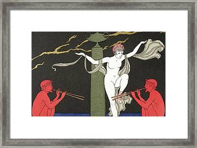 Nude Dancer  Framed Print by Georges Barbier