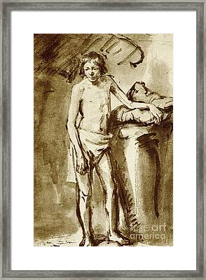 Nude Drawing For A Youth Framed Print by Rembrandt Harmensz van Rijn