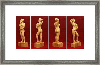 Nude Female Impressionistic Wood Sculpture Donna Framed Print by Mike Burton