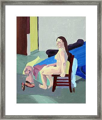Nude Female In Red Chair Framed Print