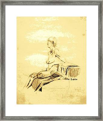 Nude Female Seated Looking Away Framed Print by Sheri Buchheit
