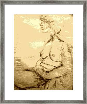 Nude Female Seated  Framed Print by Sheri Buchheit