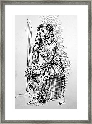 Nude In Pen Framed Print