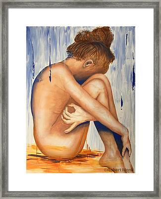 Nude In The Rain Framed Print