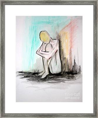 Framed Print featuring the painting Nude In Watercolor 4 by Julie Lueders