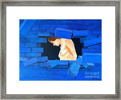 Nude Lady Through Exploding Wall Framed Print