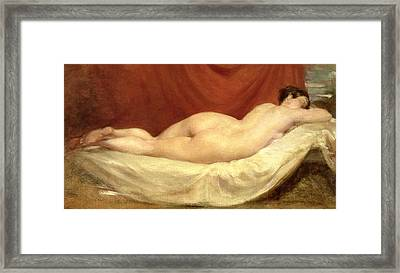 Nude Lying On A Sofa Against A Red Curtain Framed Print by William Etty