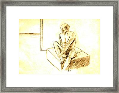Nude Male Holding Leg Framed Print by Sheri Buchheit