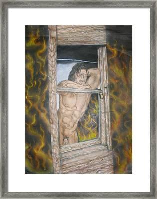 Nude Male In Window Framed Print