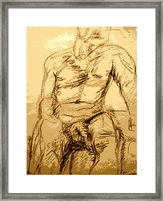 Nude Male Seated Front Framed Print by Sheri Buchheit
