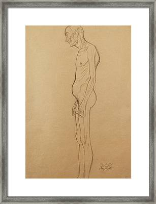 Nude Man Framed Print by Gustav Klimt