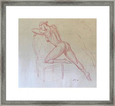 Nude On Chair Framed Print by Alejandro Lopez-Tasso