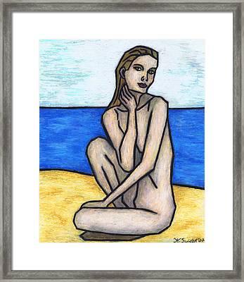 Nude On The Beach Framed Print by Kamil Swiatek
