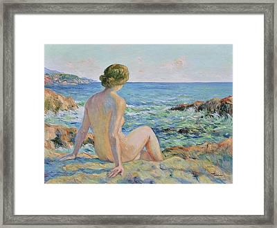 Nude On The Coast Monaco Framed Print