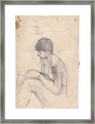 Nude Reading Framed Print by Brian Francis Smith