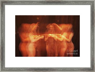 Nude Ritual With Candles - 3020cr Framed Print by Cee Cee - Nude Fine Arts