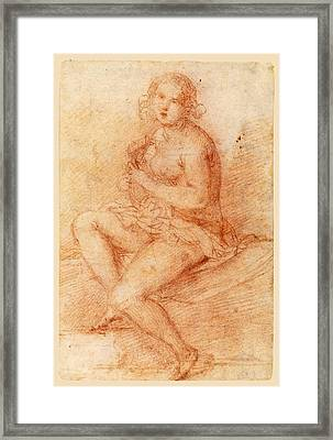 Nude Seated Woman Playing A Lute Framed Print