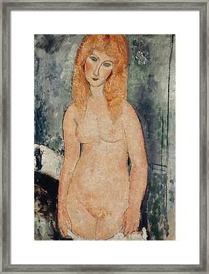 Nude Standing Framed Print by Amedeo Modigliani