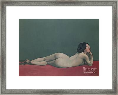 Nude Stretched Out On A Piece Of Cloth Framed Print