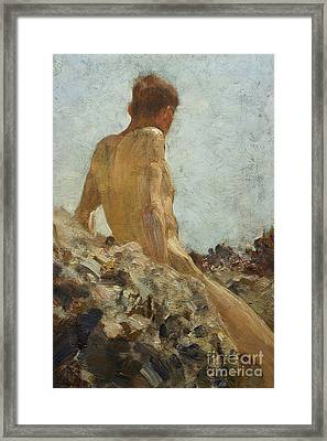 Nude Study Framed Print by Henry Scott Tuke